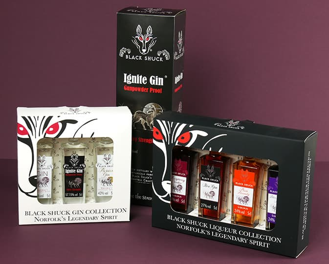 Packaging for Black Shuck Gin