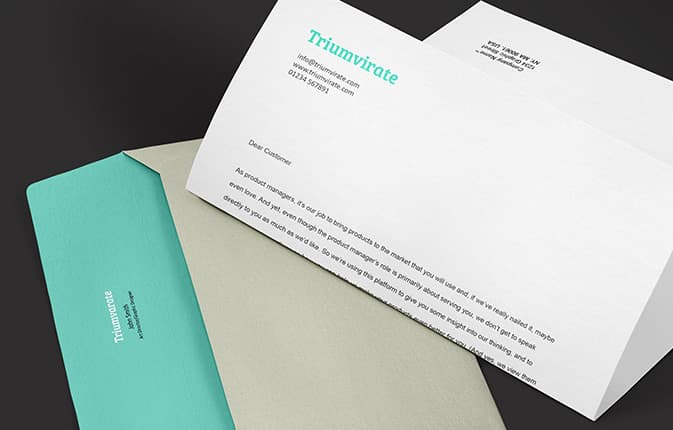 Letter and printed envelope